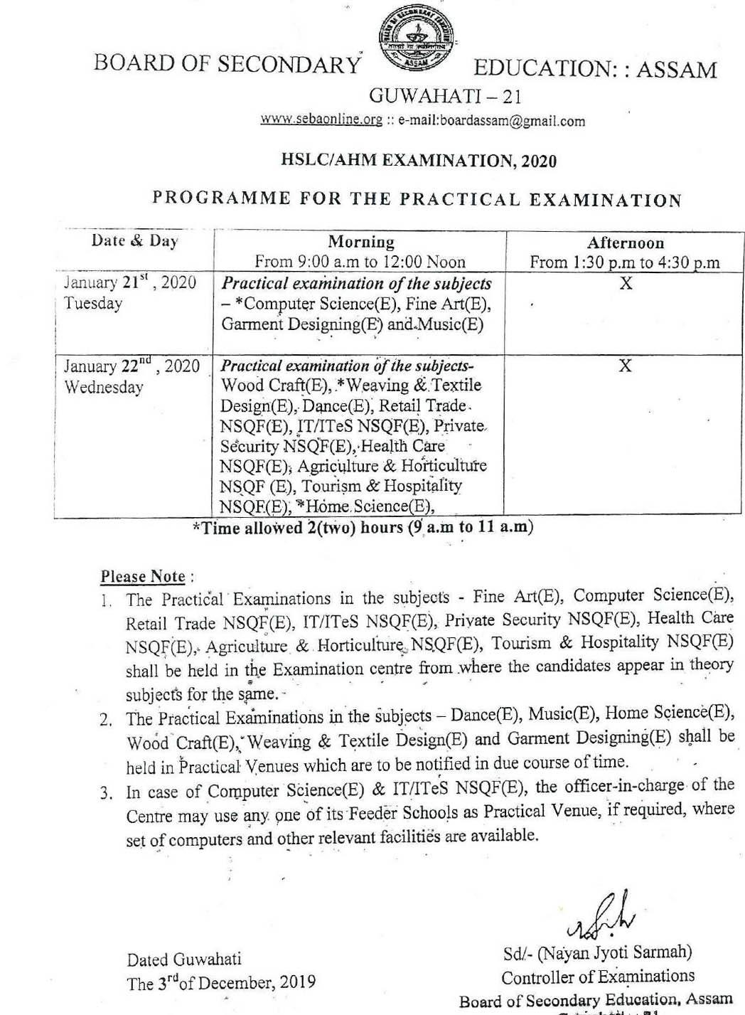 Assam HSLC Practical Routine 2020