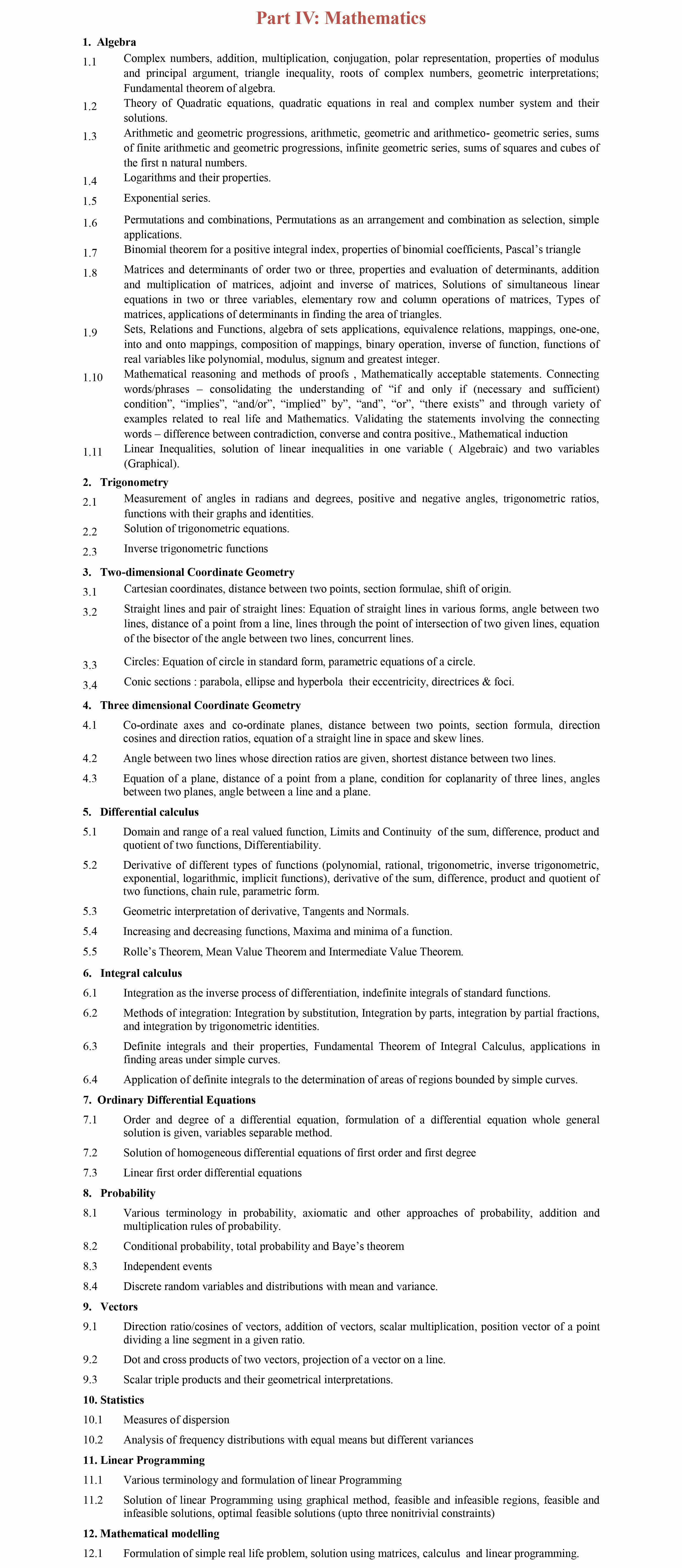 BITSAT Mathematics Syllabus