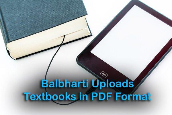 Balbharti Uploads Textbooks in PDF Format