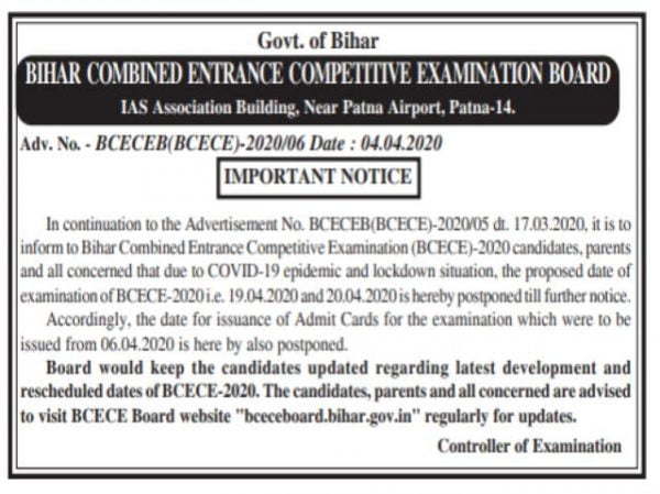 Bihar BCECE 2020 Postponed Due to COVID-19 Lockdown