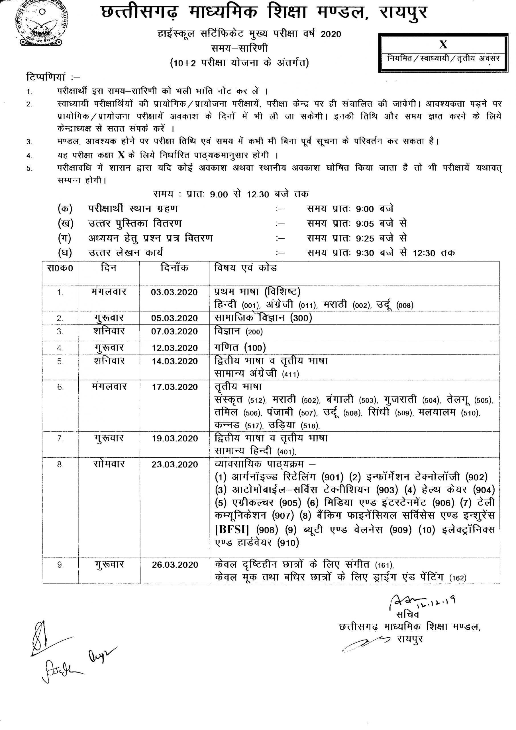 CGBSE 10th Time Table 2020