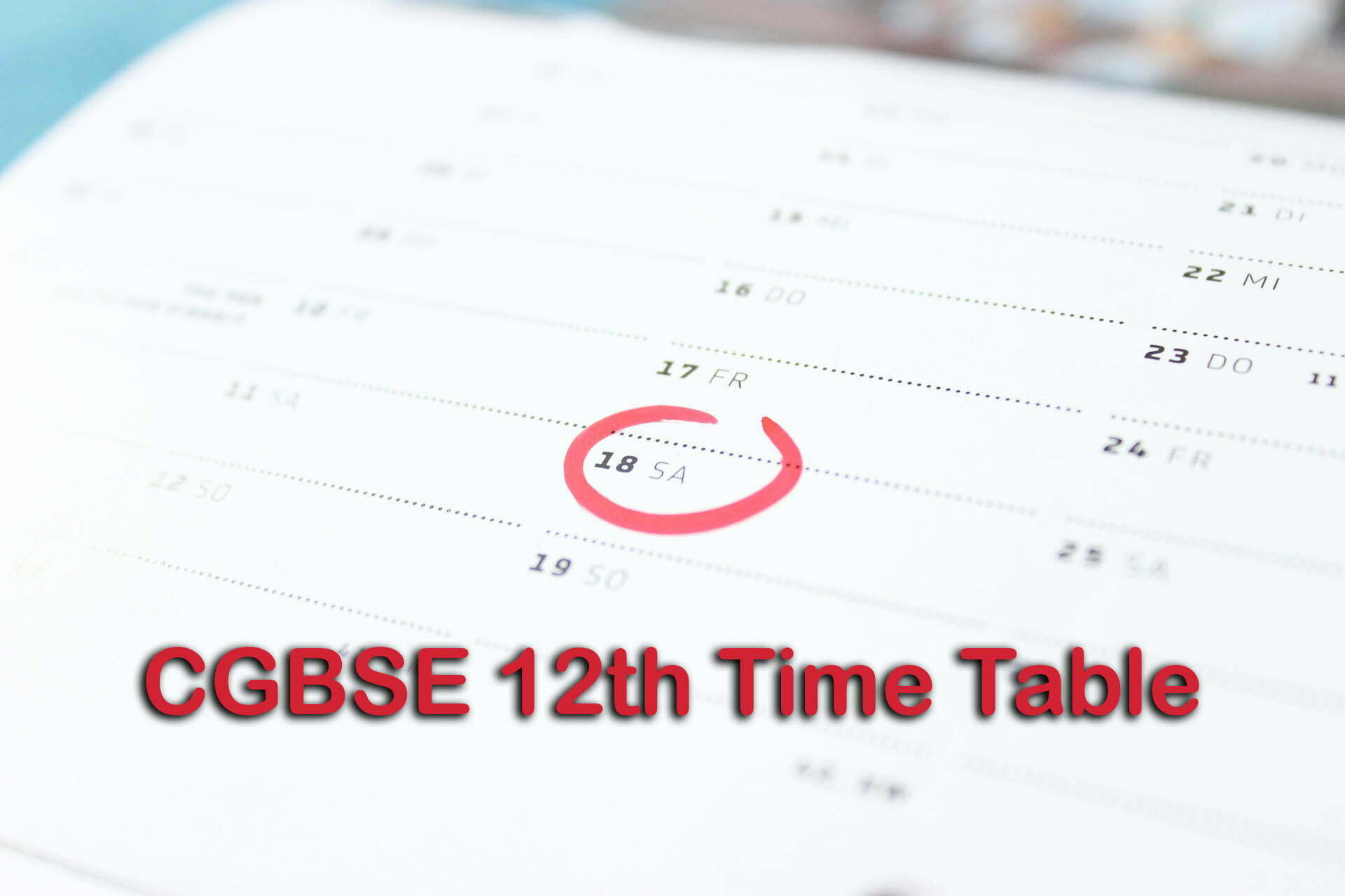 CGBSE 12th Time Table 2020 : CG Board 12th Time Table 2020 PDF Download