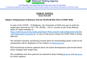 Delhi University Entrance Test 2020 (DUET) Postponed