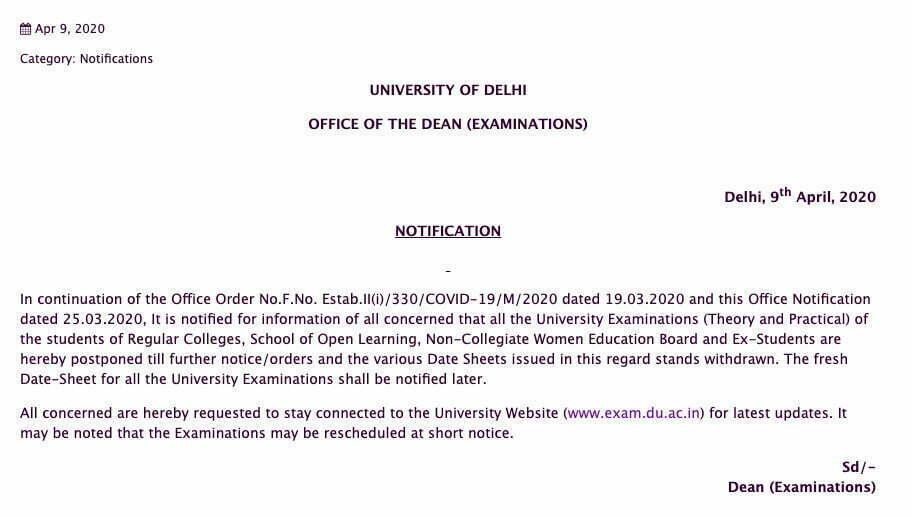 Delhi University Postpones 2020 May June Semester Exams