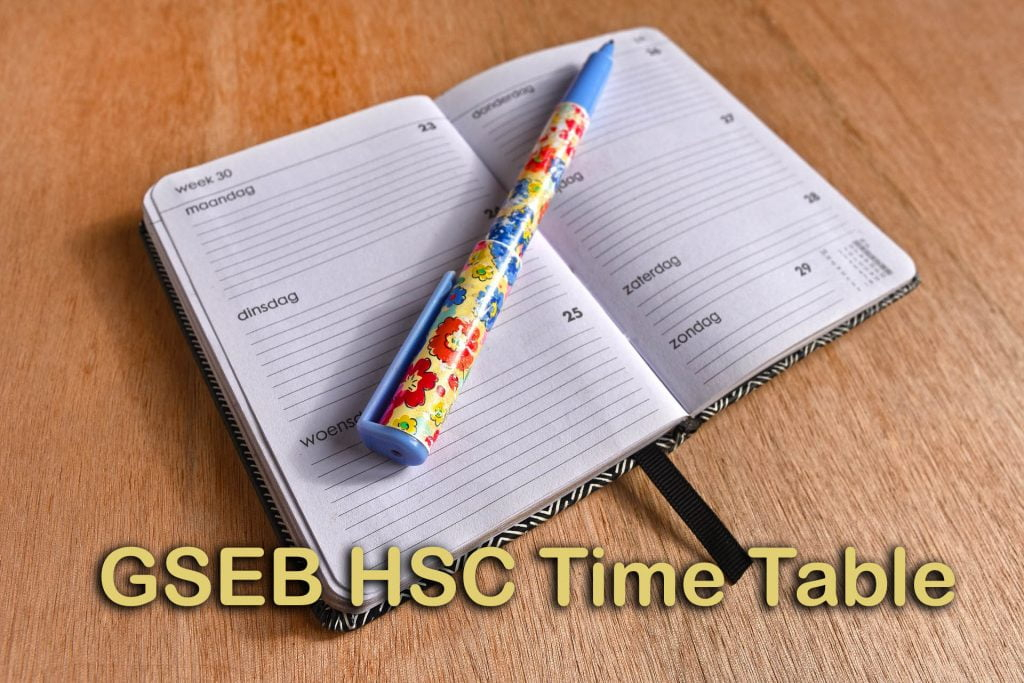 GSEB HSC Time Table 2020 : Gujarat Board HSC Time Table PDF