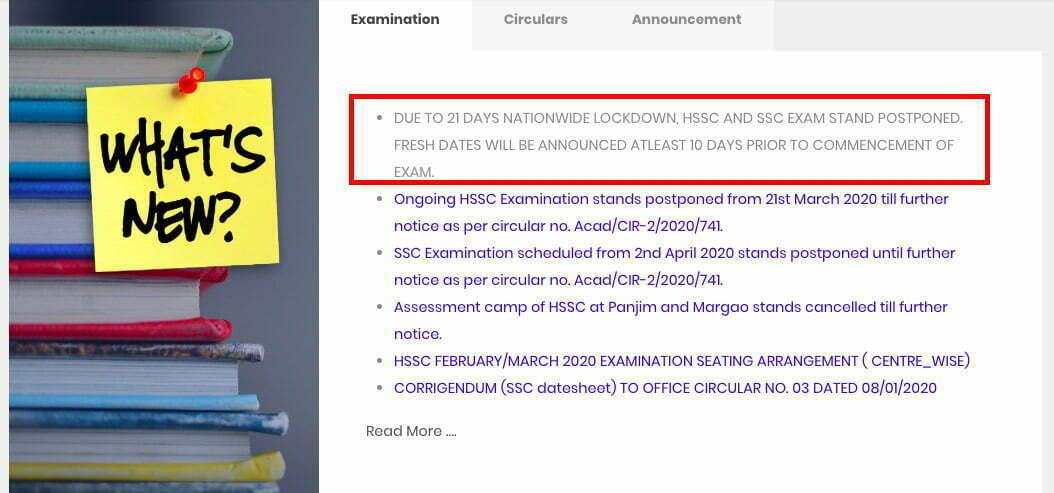 Goa Board SSC & HSSC 2020 Exam Postponed