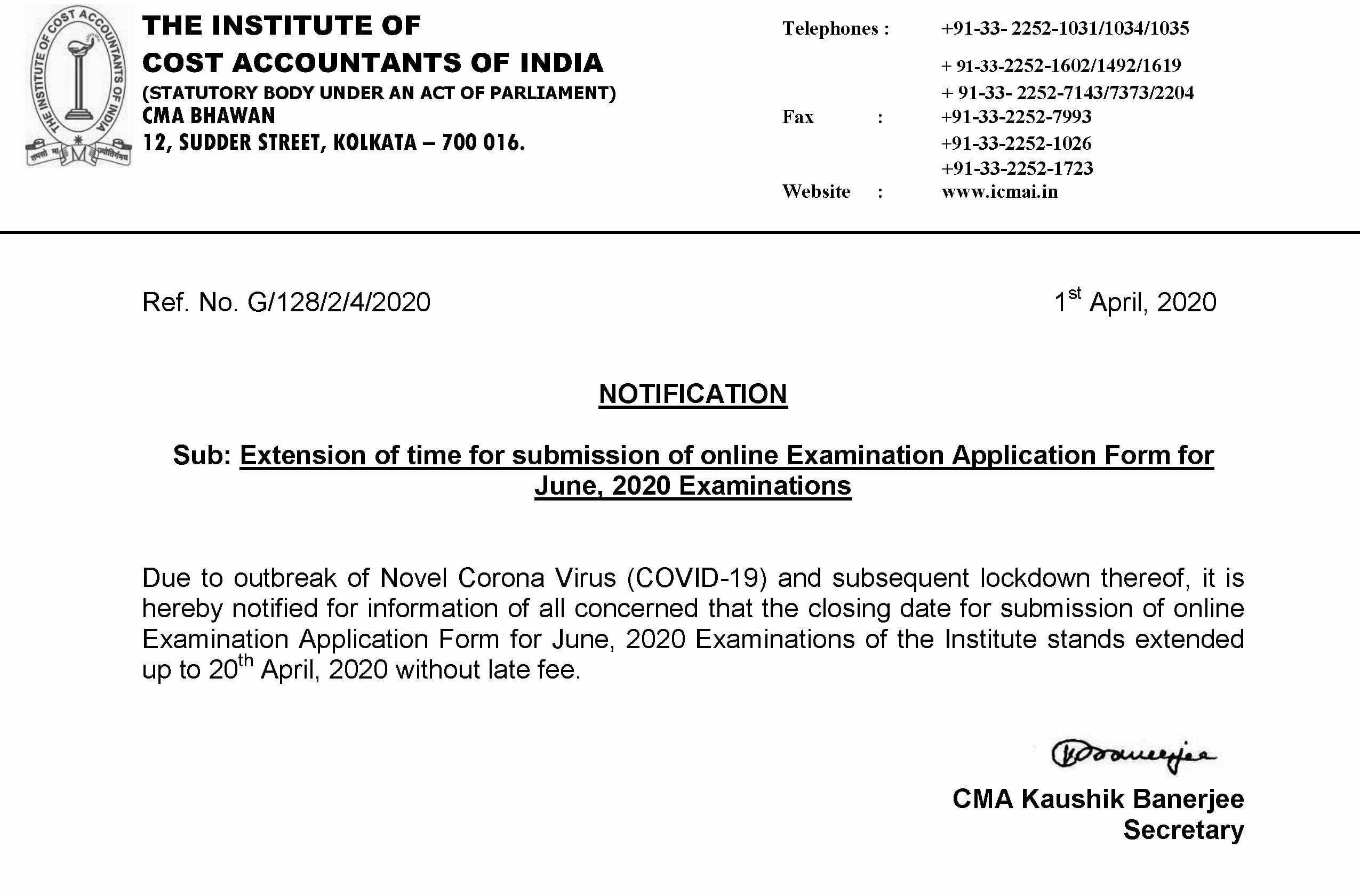 ICMAI Extends Application Deadline For CMA June Exam