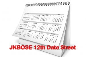 JKBOSE 12th Class Date Sheet