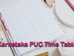 Karnataka PUC Time Table 2020 : Download Karnataka Board 2nd PUC Time Table 2020