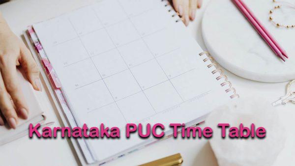 Karnataka PUC Time Table