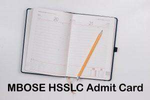 MBOSE HSSLC Admit Card