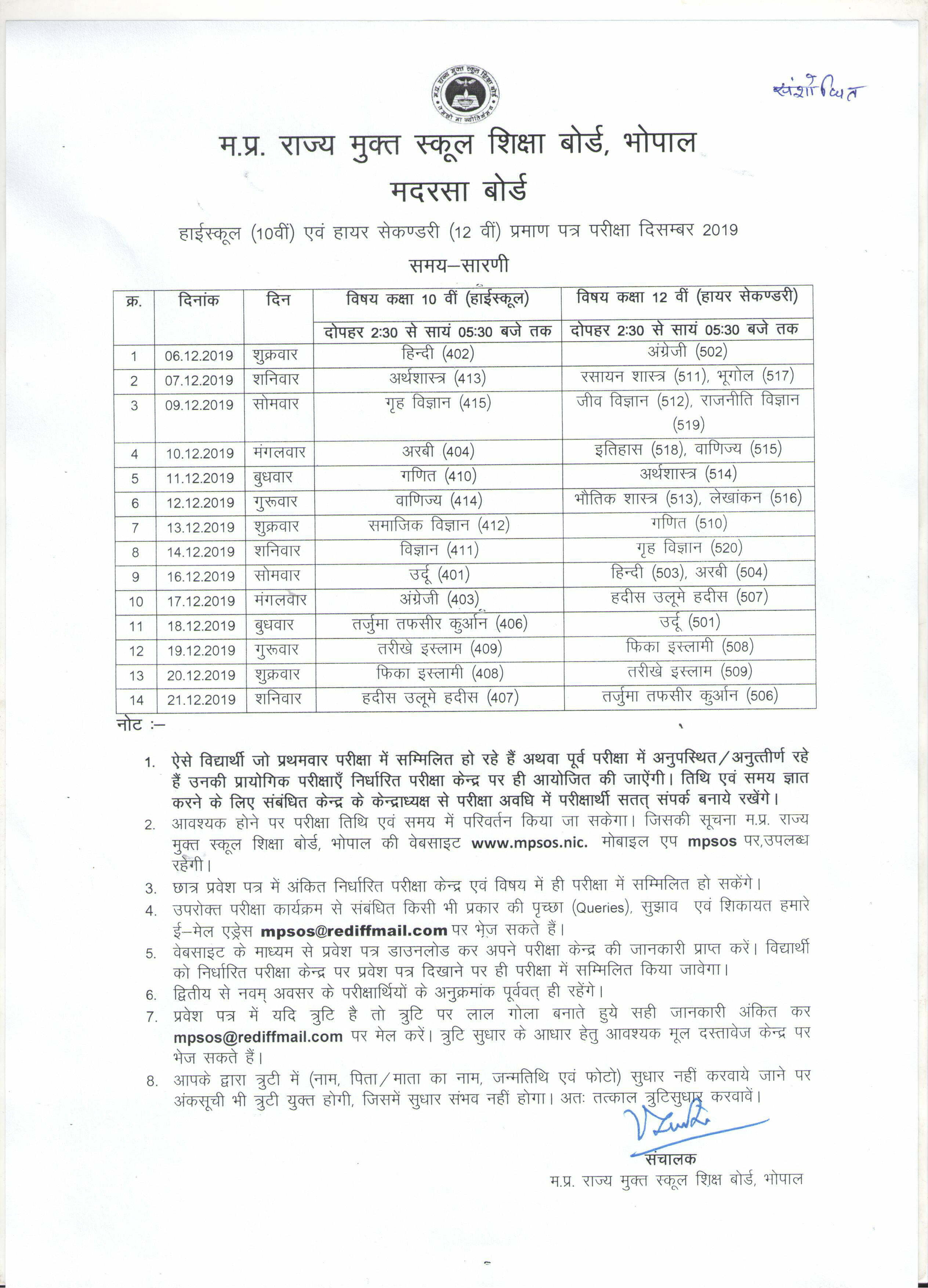 MP Madarsa 12th Time Table 2019 December