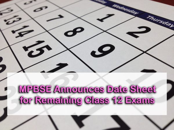 MPBSE Announces Date Sheet for Remaining Class 12 Exams