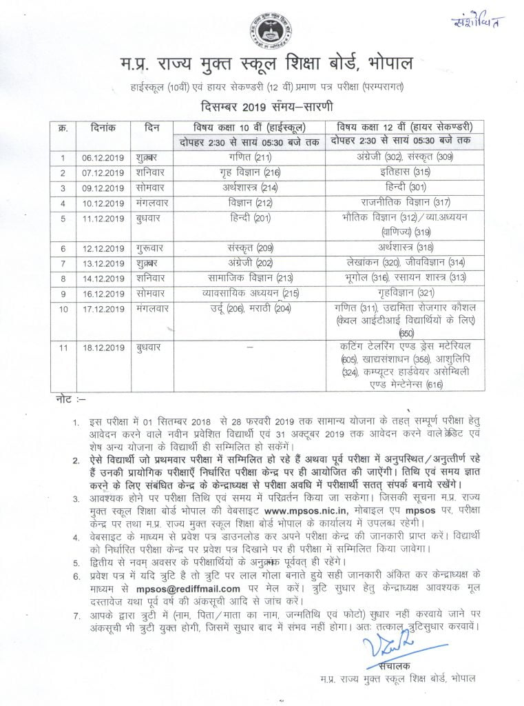 MPSOS 10th Time Table 2019 December