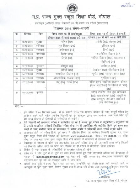 MPSOS 12th Time Table 2019 December