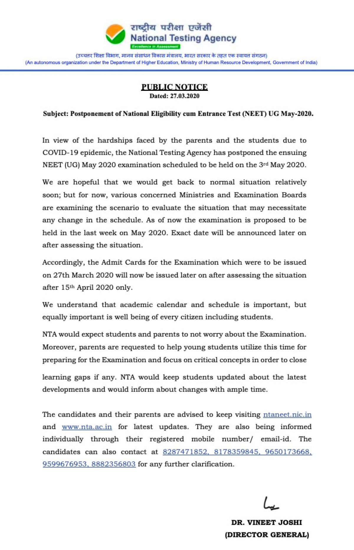 Nta Neet 2020 Exam Postponed Due To Coronavirus Outbreak Kvpy Org In