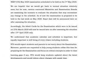 NTA NEET 2020 Exam Postponed till Last Week of May