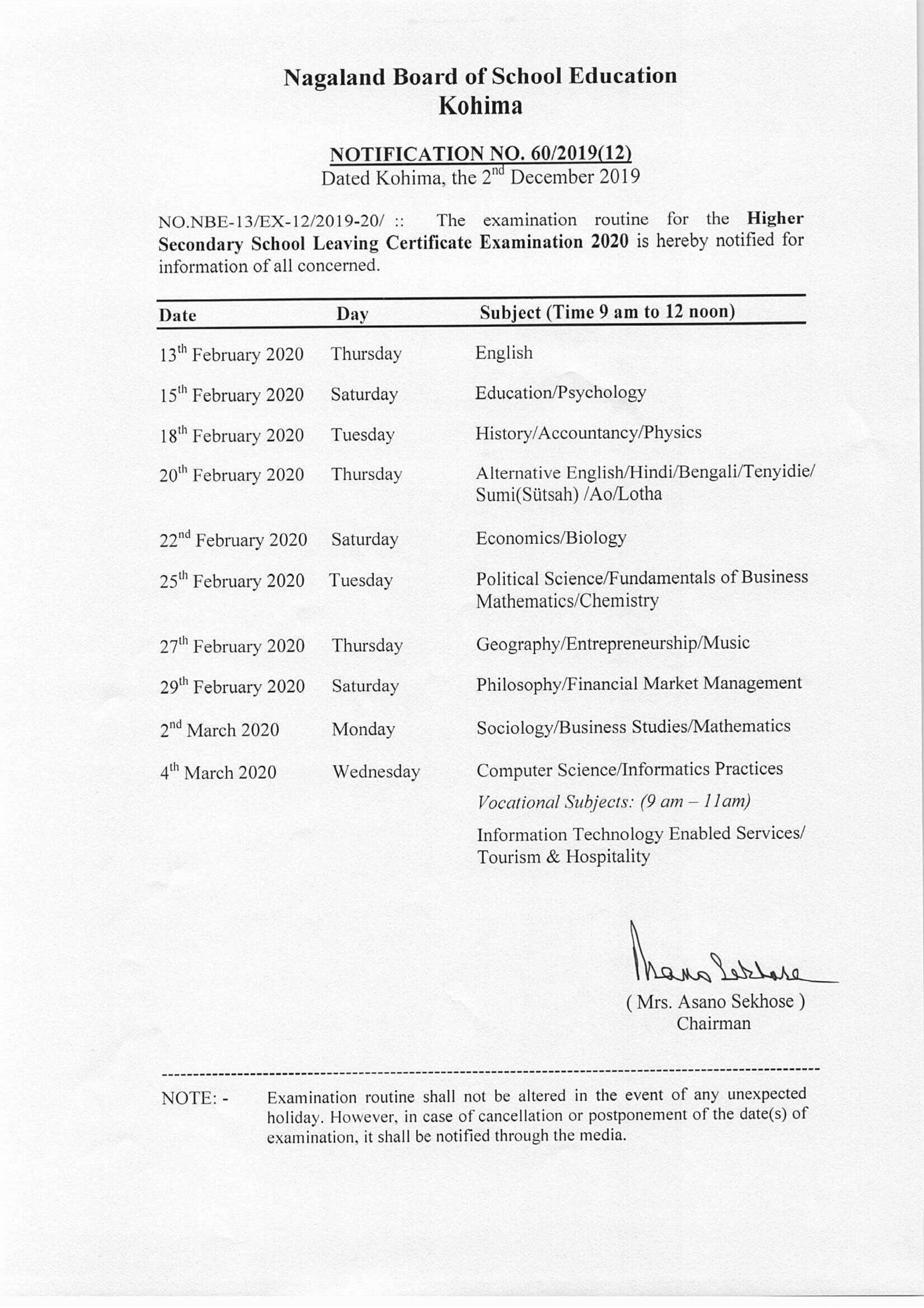 Nagaland HSSLC Routine 2020
