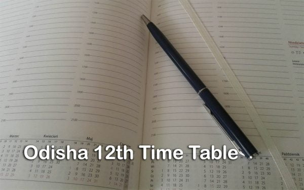 Odisha 12th Time Table
