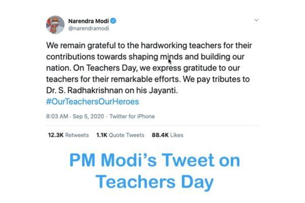 PM Modi's Tweet on Teachers Day 2020