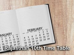 Rajasthan Board 10th Time Table 2020 : Download RBSE 10th Class Time Table PDF