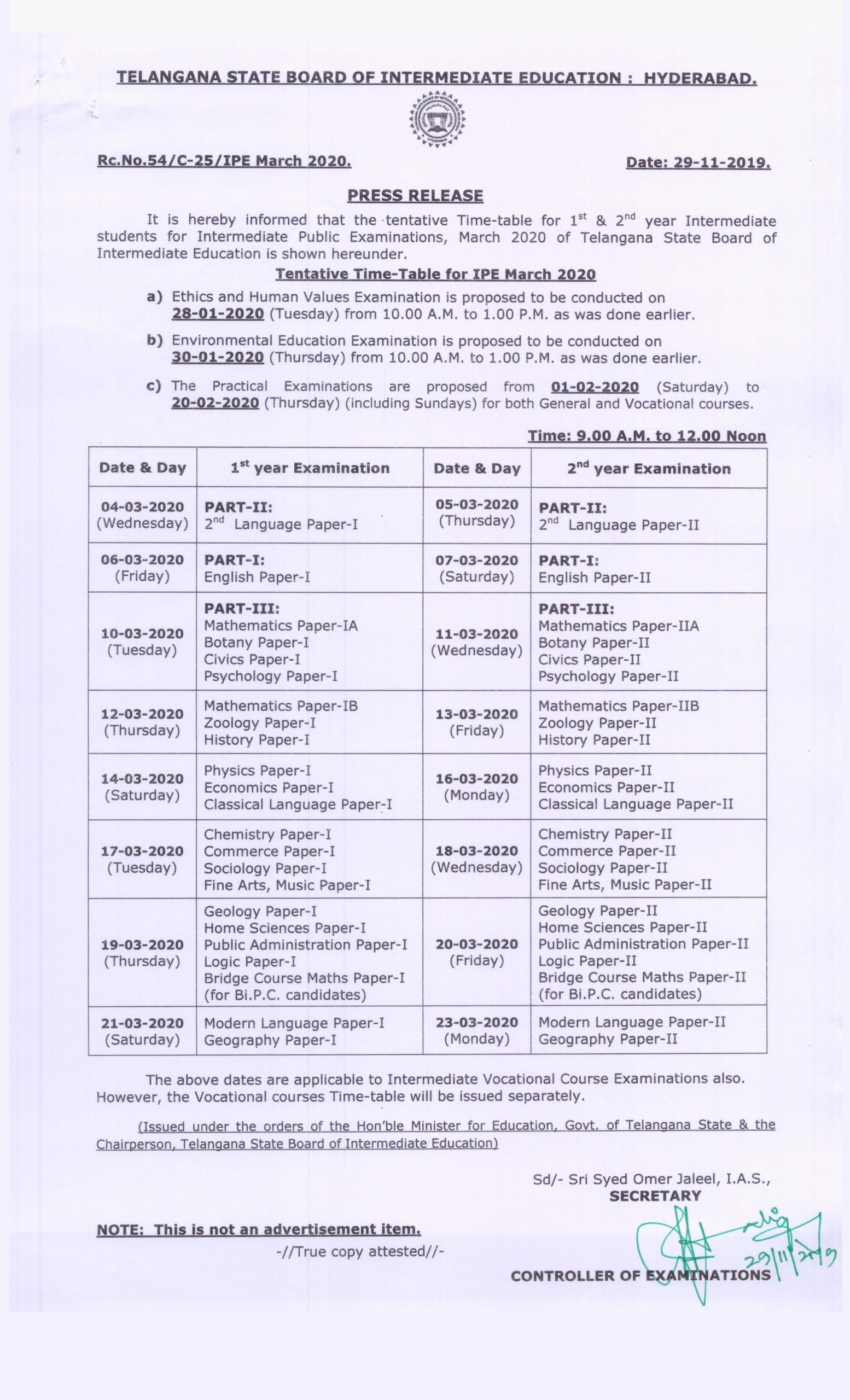 TS Intermediate Time Table 2020