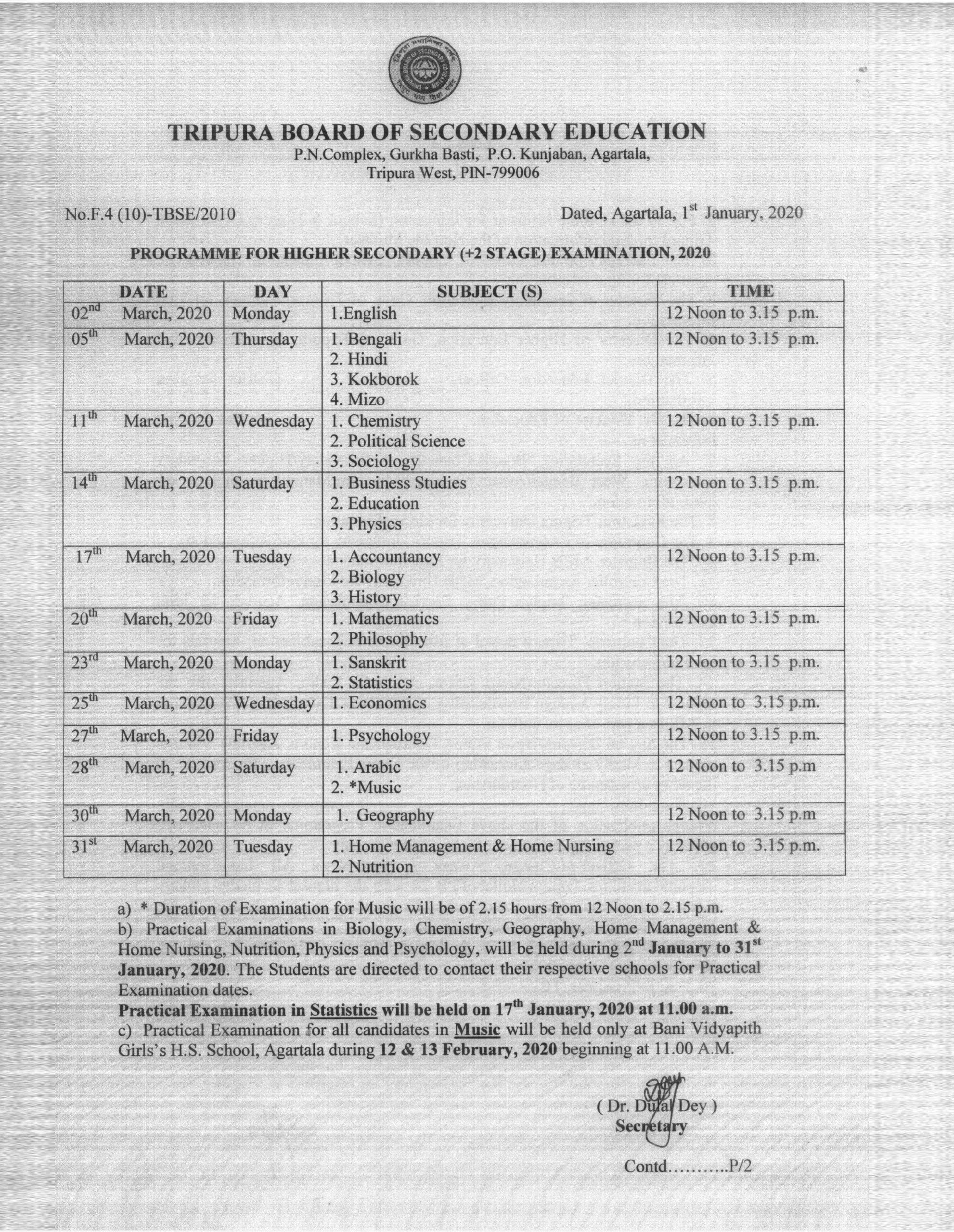 Tripura Board Class 12 Routine 2020