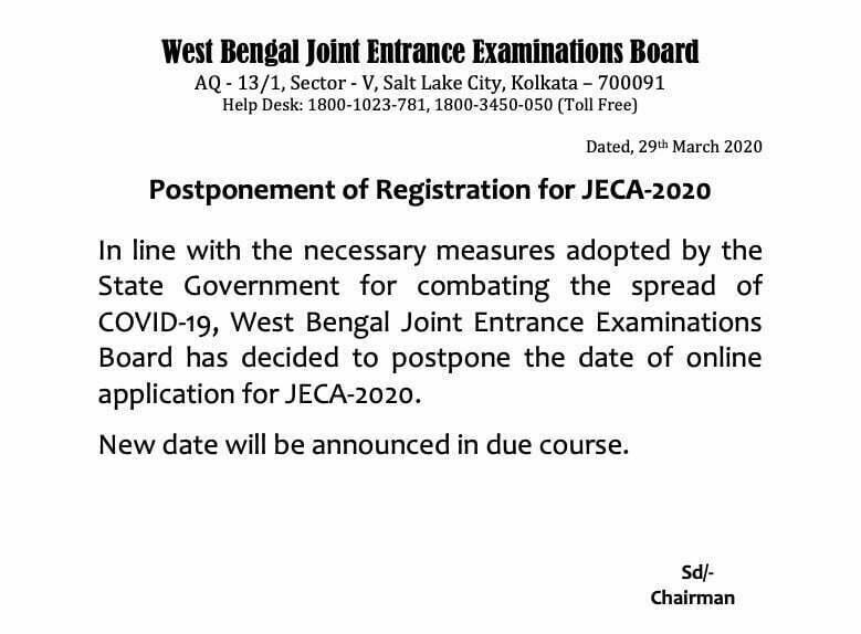 WBJEE Postponed JECA-2020 Registration